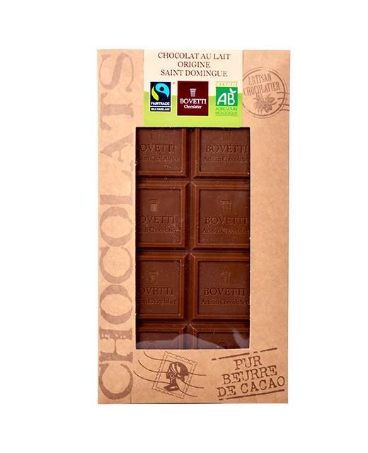 Chocolat tablette lait saint domingue bio bovetti