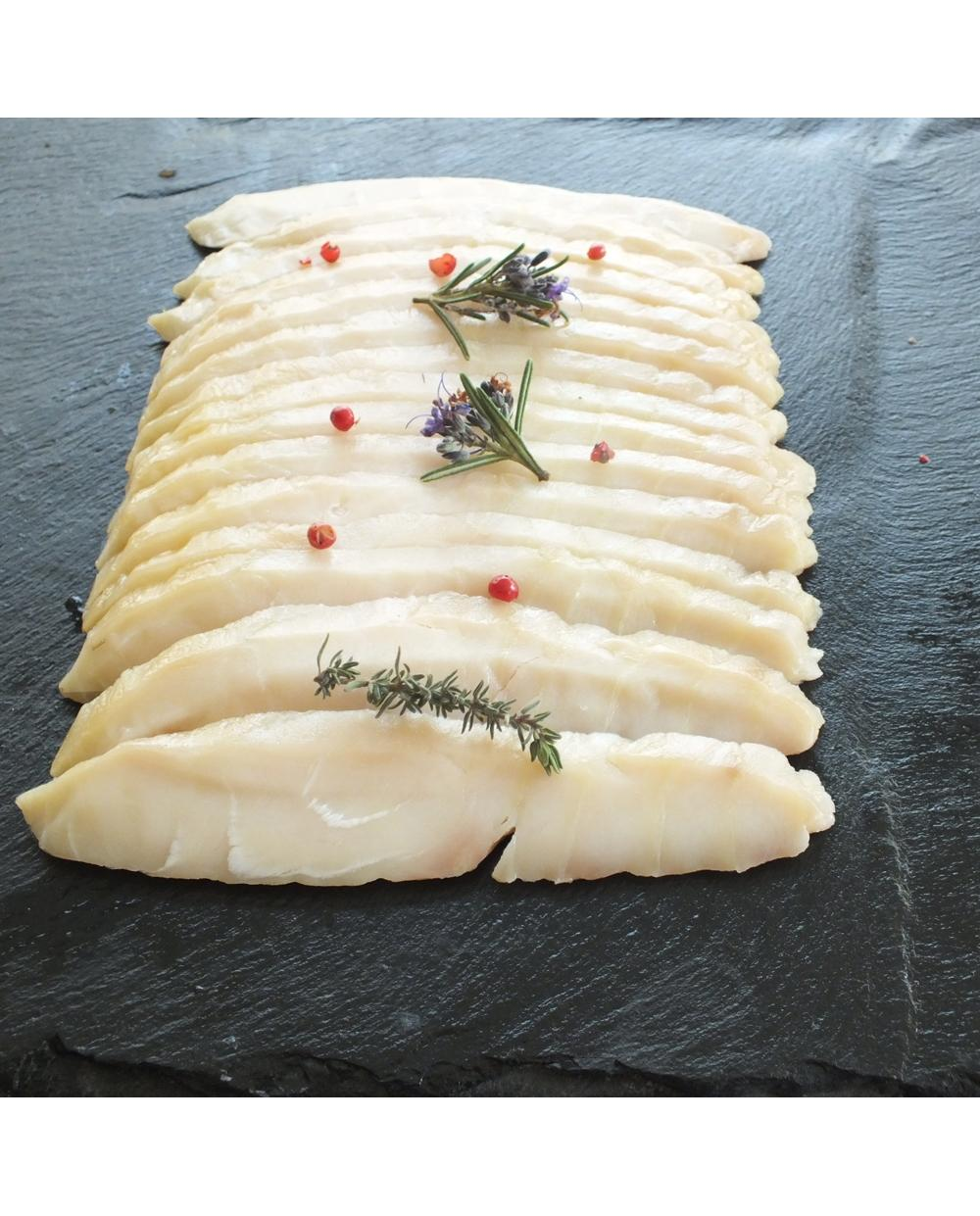 Esturgeon fumee sans peau tranchees facon sashimi 200g
