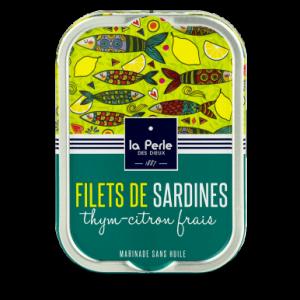 Filets de sardines sans huile au thym et au citron frais